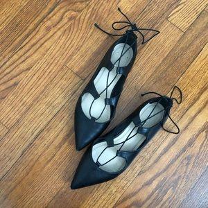 Loeffler Randall Ambers Lace Up Flats Black